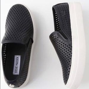 Steve Madden Black Perforated Slip On Sneakers